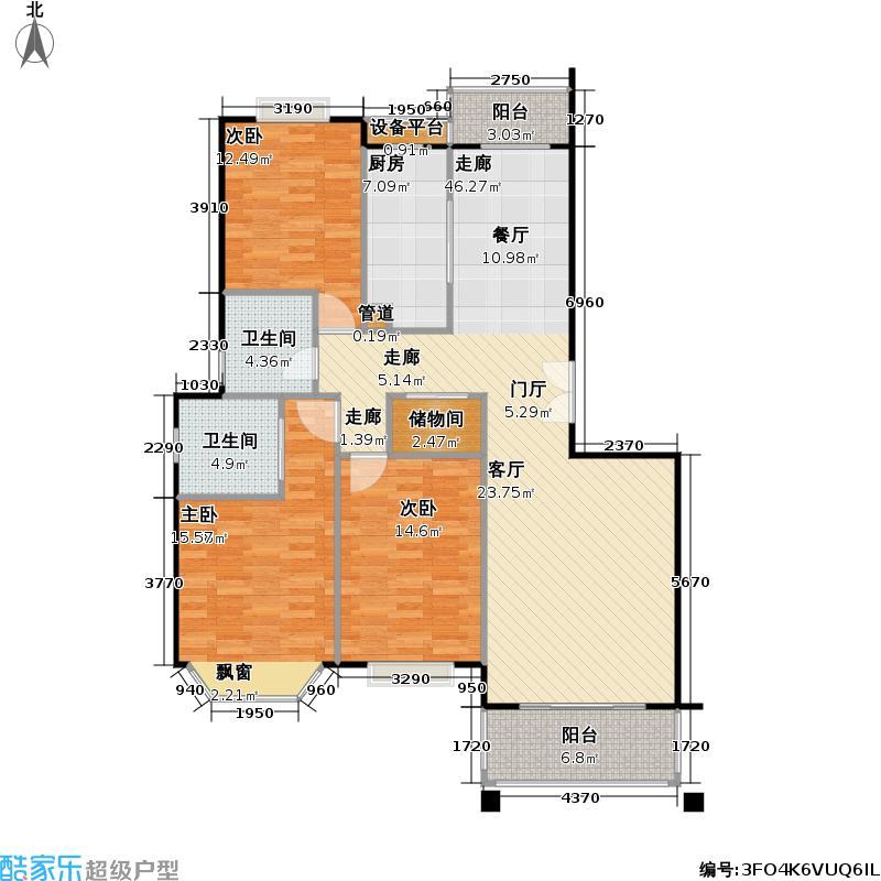 宝地绿洲城二期108.60㎡房型: 三房; 面积段: 108.6 -130.13 平方米;户型