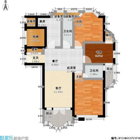 惠龙公寓3室0厅2卫1厨88.00㎡户型图