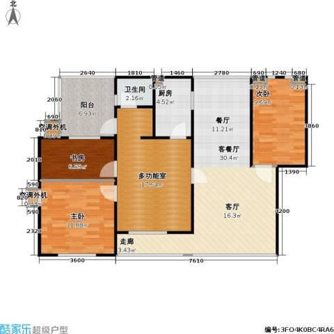 百利华府3室1厅1卫1厨90.82㎡户型图