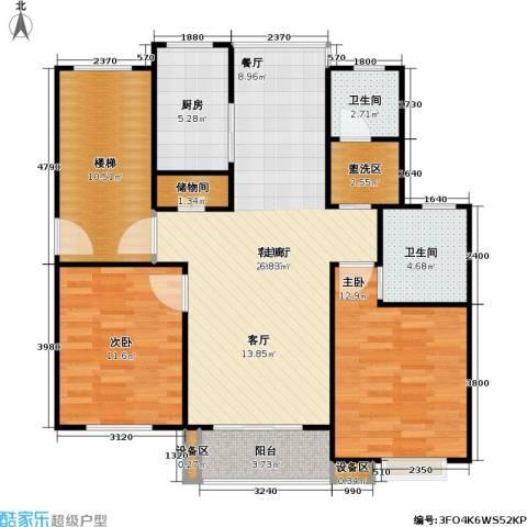 金榜世家六期2室1厅2卫1厨93.00㎡户型图