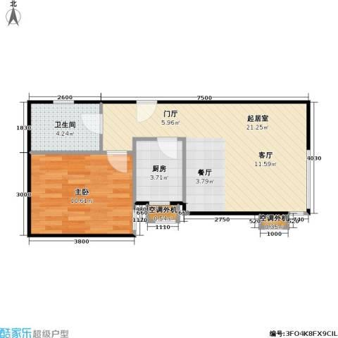 博客雅居1室0厅1卫1厨60.00㎡户型图