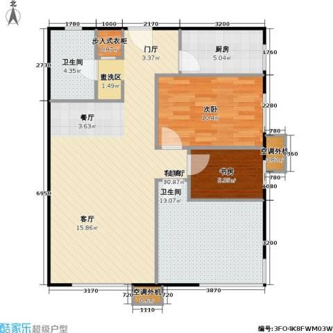 博客雅居2室1厅2卫1厨104.00㎡户型图