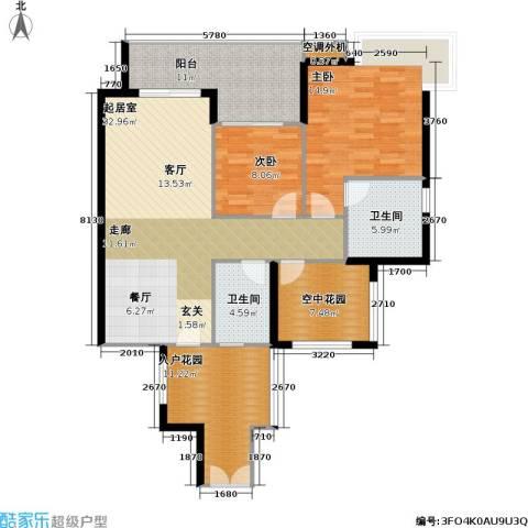 光大榕誉 光大花园 水榕苑2室0厅2卫0厨107.00㎡户型图