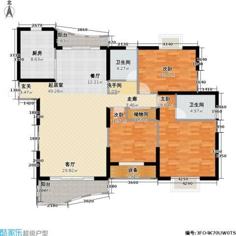 东明家园3室0厅2卫1厨136.00㎡户型图