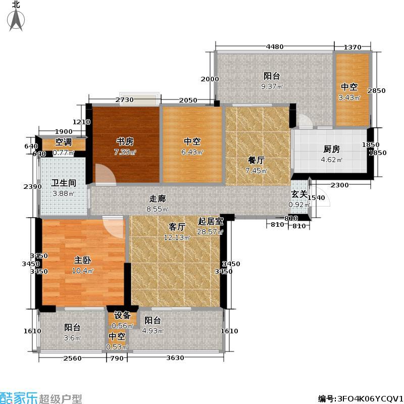 世茂・江滨花园世茂首府89.00㎡峻景湾11号楼4-24层偶数层户型