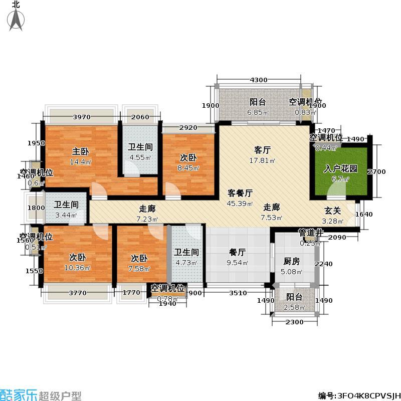 富通天邑湾一期户型4室1厅3卫1厨
