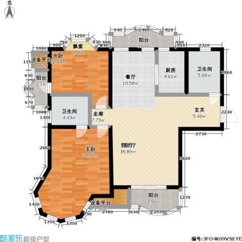 新红厦公寓2室1厅2卫1厨116.00㎡户型图