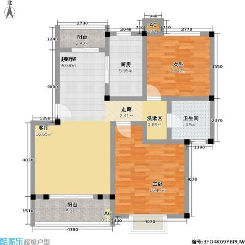 华光紫荆苑2室0厅1卫1厨86.00㎡户型图