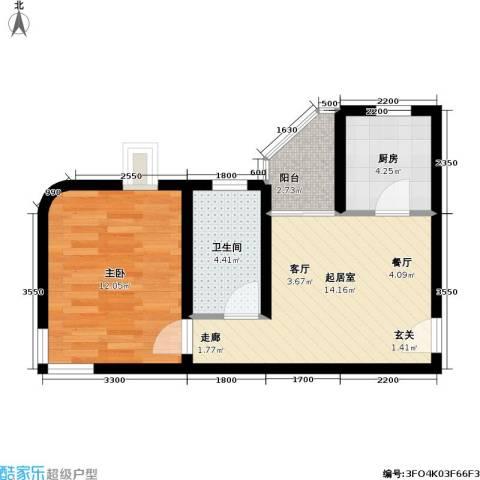大上海城市花园1室0厅1卫1厨52.00㎡户型图