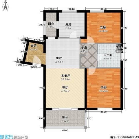 老西门新苑2室1厅1卫1厨100.00㎡户型图