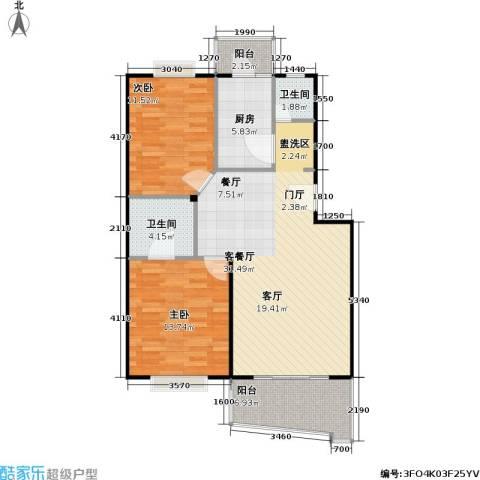 张杨南苑2室1厅2卫1厨89.00㎡户型图