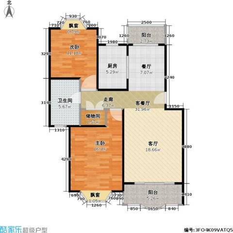 鸿达嘉苑2室1厅1卫1厨93.00㎡户型图