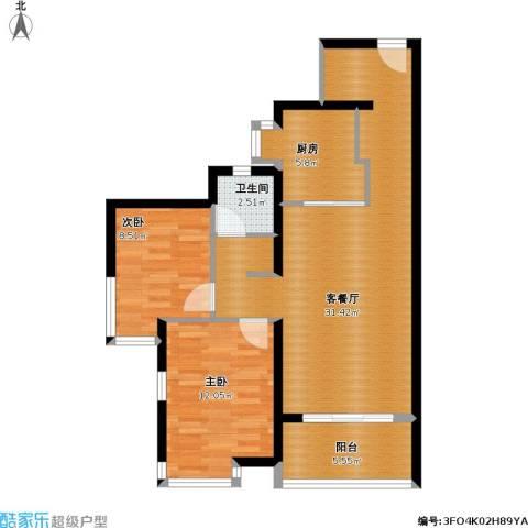 万科金域松湖2室1厅1卫1厨94.00㎡户型图