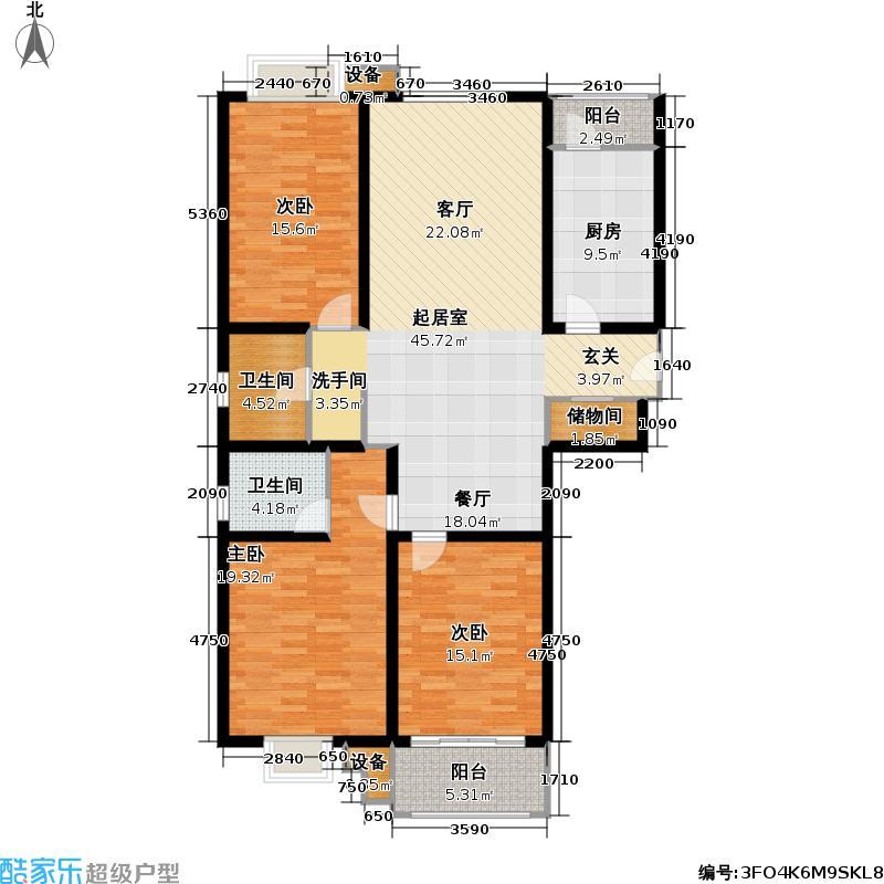 祥瑞公寓139.66㎡房型: 三房; 面积段: 139.66 -141.53 平方米;户型