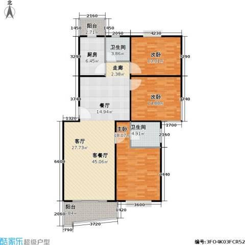 张杨南苑3室1厅2卫1厨126.00㎡户型图