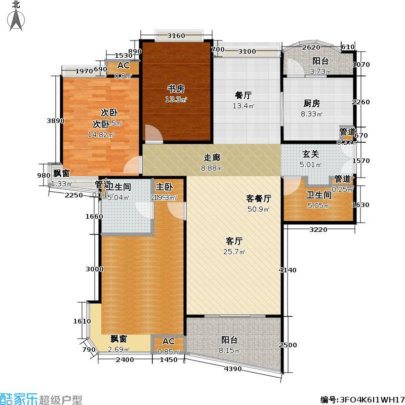 蓬莱家园(5号楼)130.86㎡房型: 三房; 面积段: 130.86 -145 平方米; 户型