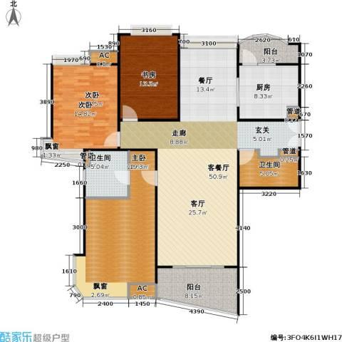 蓬莱家园(5号楼)3室1厅2卫1厨134.92㎡户型图