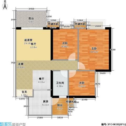 光大榕誉 光大花园 水榕苑3室0厅1卫1厨91.00㎡户型图