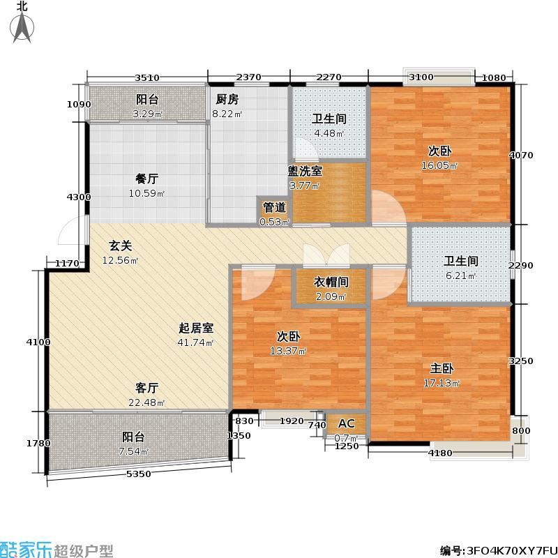 黄兴绿园二期房型户型3室2卫1厨