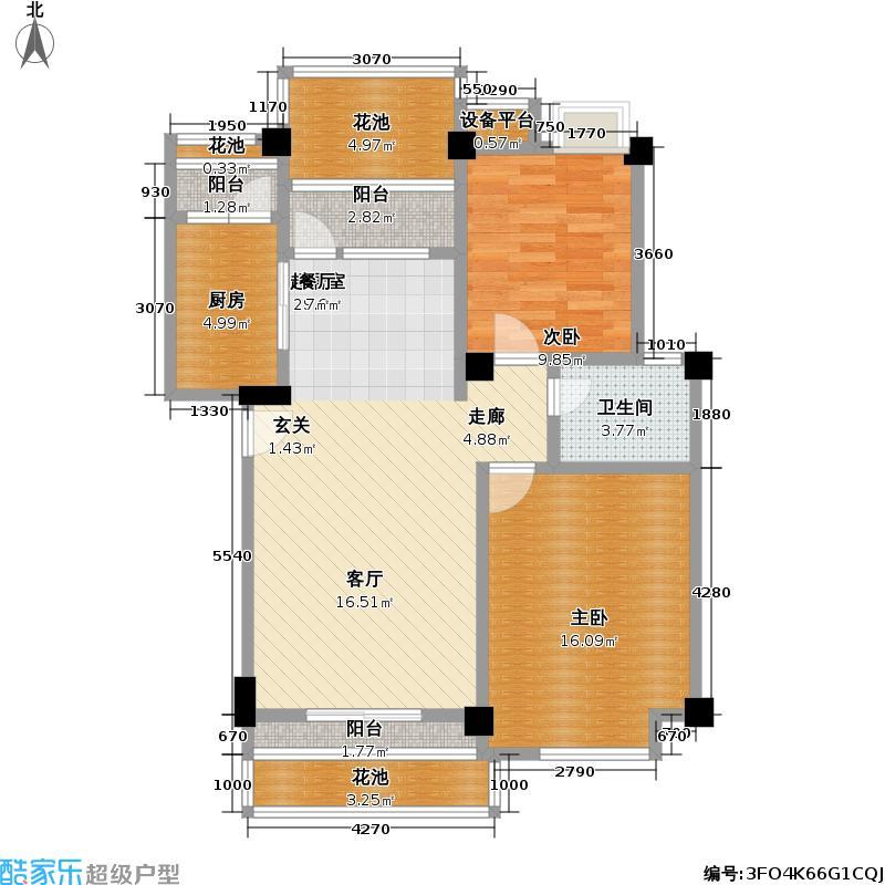 水域天际78.66㎡二房二厅一卫户型