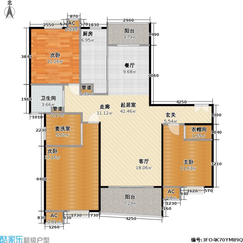 恒联新天地花园二期124.00㎡房型: 三房; 面积段: 124 -133 平方米; 户型