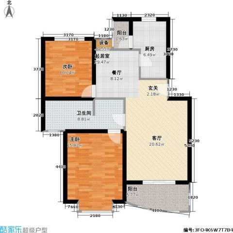 龙馨嘉园一期2室0厅1卫1厨90.00㎡户型图