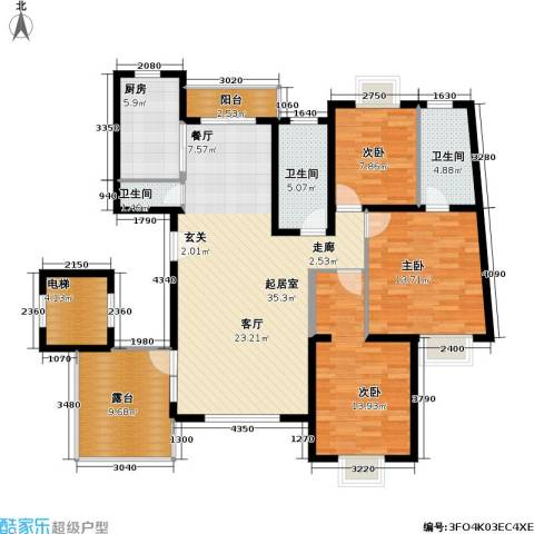 滴翠苑 明园森林都市3室0厅3卫1厨118.00㎡户型图