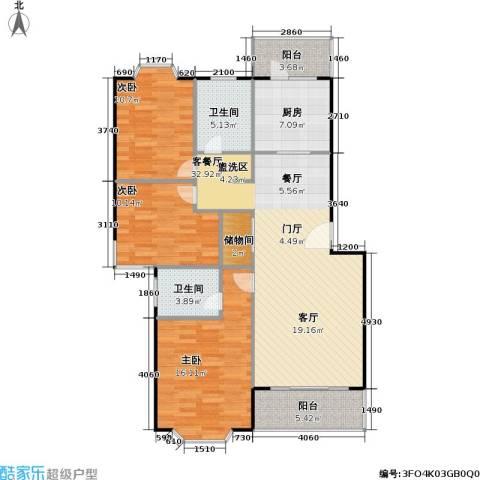 美之苑3室1厅2卫1厨106.00㎡户型图