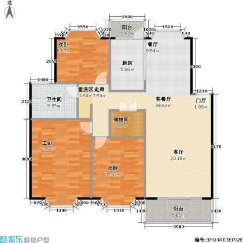 美之苑3室1厅1卫1厨106.00㎡户型图