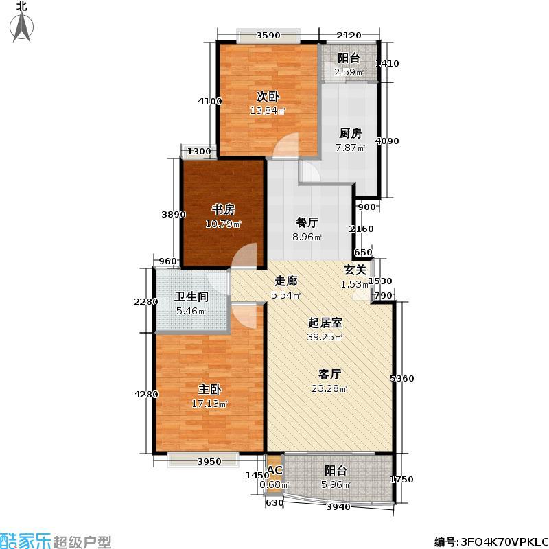 万邦都市花园三期房型户型3室1卫1厨