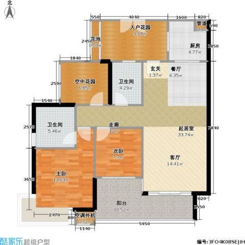 光大榕誉 光大花园 水榕苑2室0厅2卫1厨107.00㎡户型图