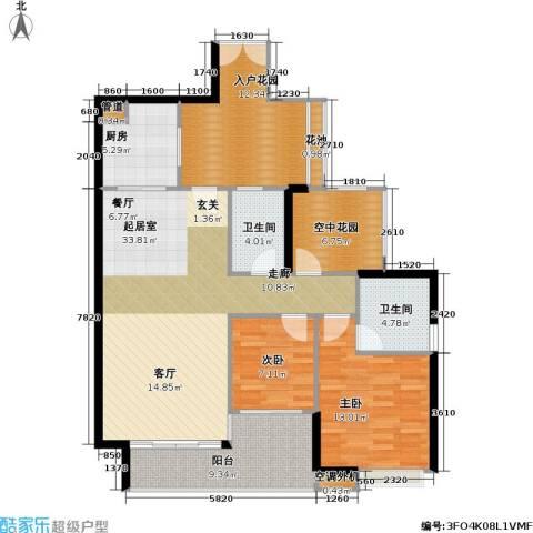 光大榕誉 光大花园 水榕苑2室0厅2卫1厨108.00㎡户型图