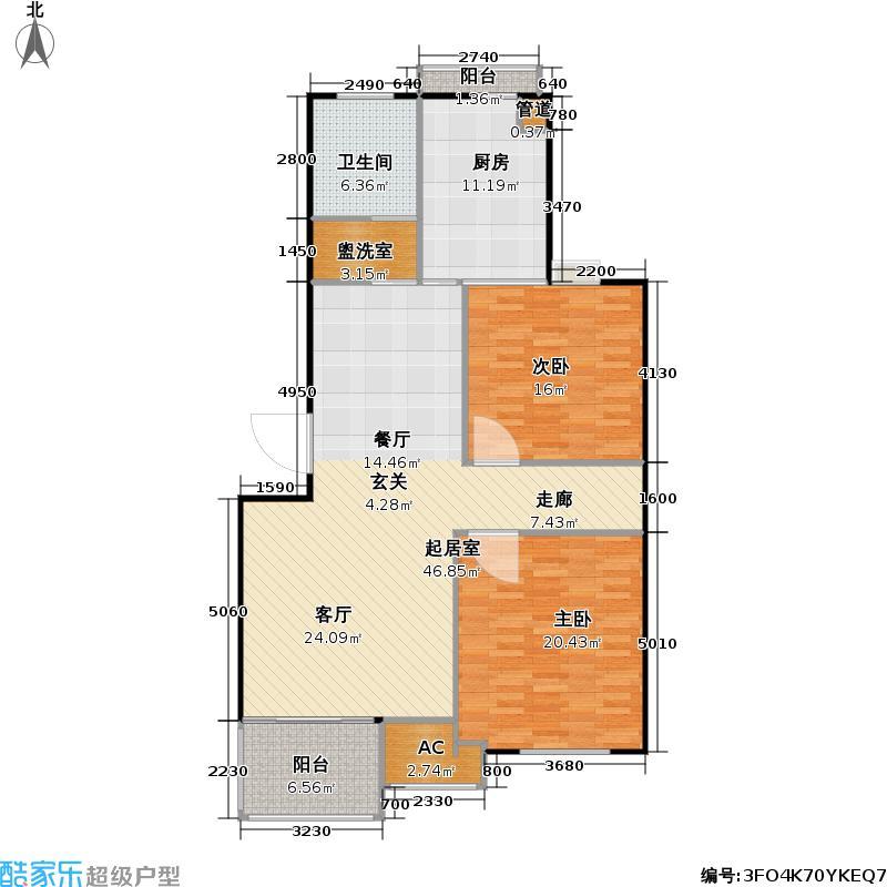 贵仁绿苑房型户型2室1卫1厨