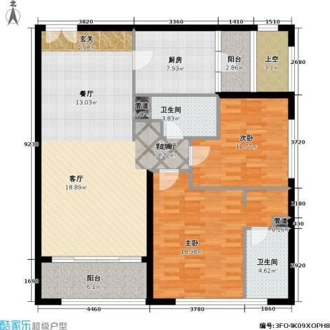 老西门新苑2室1厅2卫1厨110.00㎡户型图