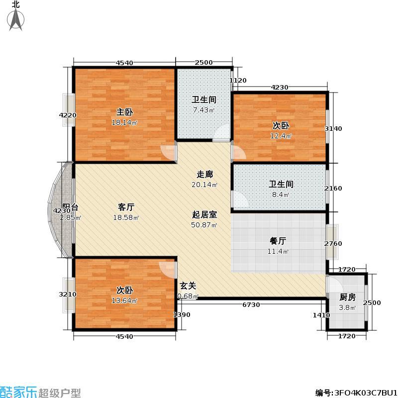 香山丽舍125.00㎡南北通户型
