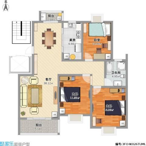 通刘花园2室1厅1卫1厨130.00㎡户型图