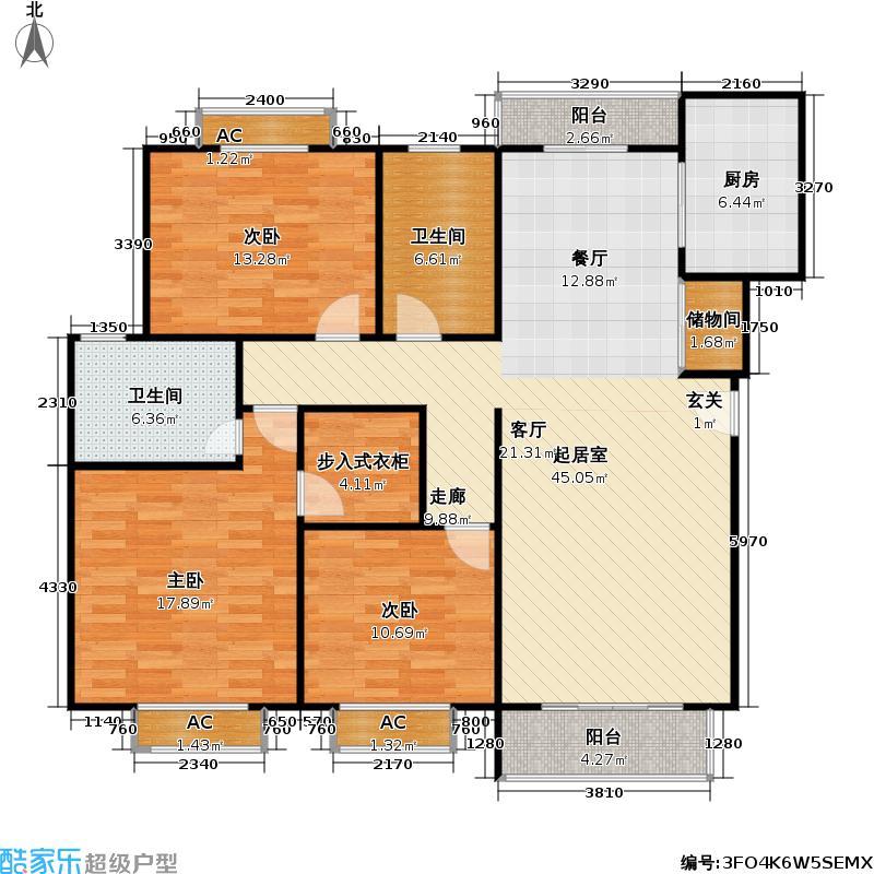 嘉禄新苑二期124.85㎡房型: 三房; 面积段: 124.85 -140.46 平方米; 户型