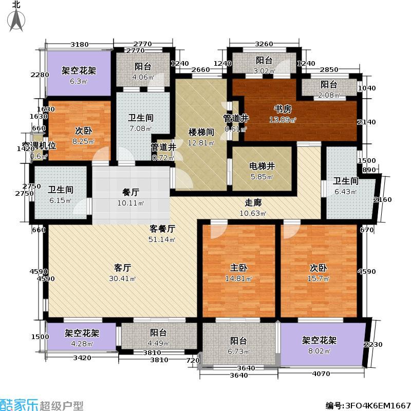 玫瑰庭院158.00㎡绿夏微岚户型4室2厅2卫