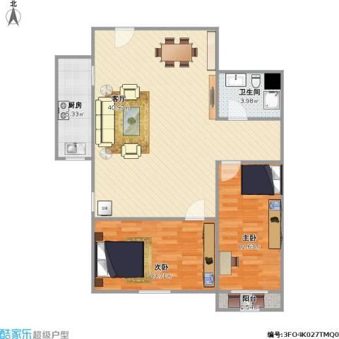 延静东里2室1厅1卫1厨105.00㎡户型图