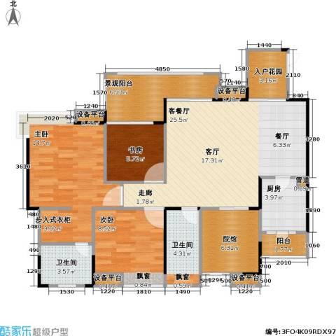 复地・上城国际公寓 上城国际公寓3室1厅2卫1厨116.00㎡户型图