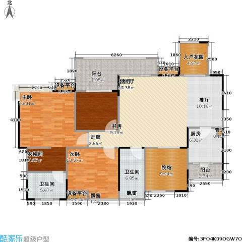 复地・上城国际公寓 上城国际公寓3室1厅2卫1厨184.00㎡户型图