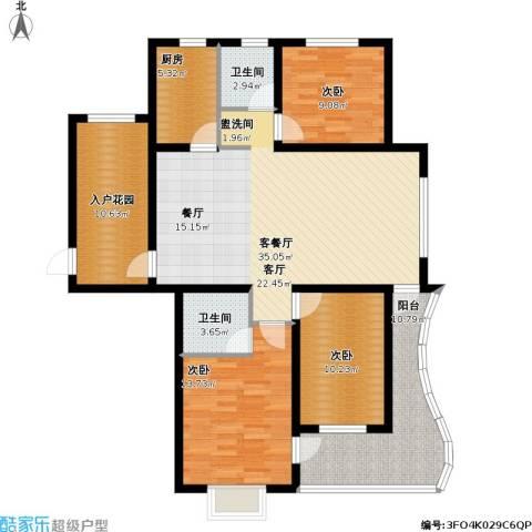 海韵馨园3室1厅2卫1厨145.00㎡户型图