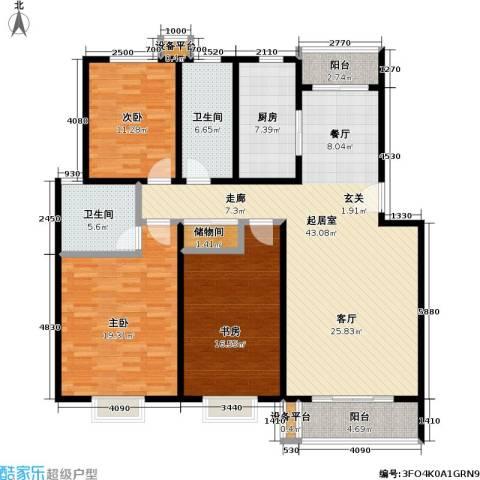 滨河景城3室0厅2卫1厨119.50㎡户型图