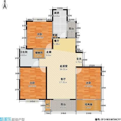 中轩丽苑二期3室0厅1卫1厨139.00㎡户型图