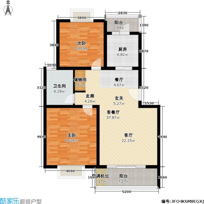 四季绿城二期86.46㎡房型: 二房; 面积段: 86.46 -103.61 平方米;户型