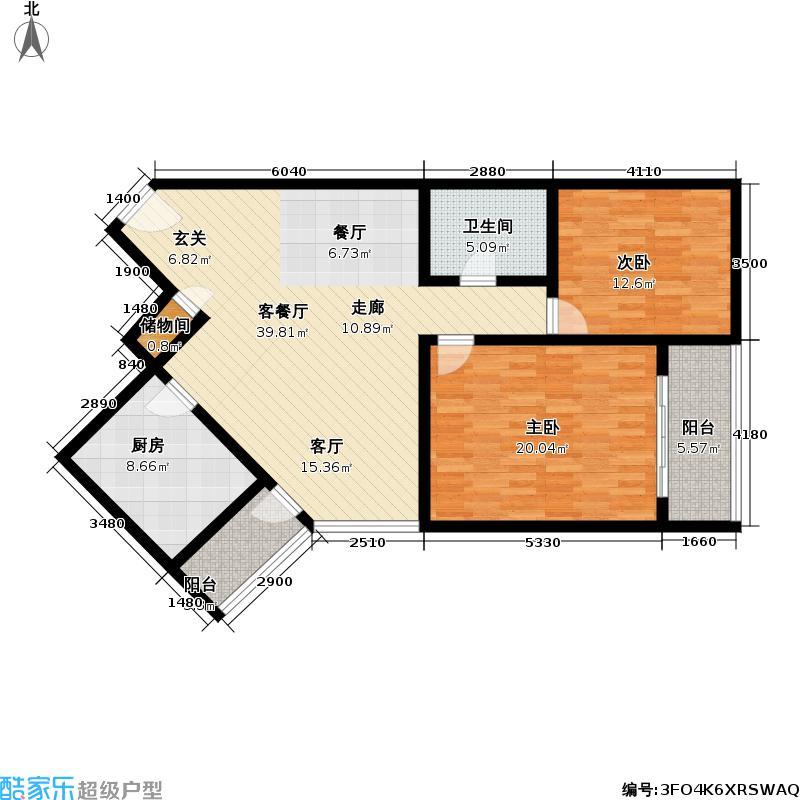海欣城一期110平方米两室两厅一卫户型