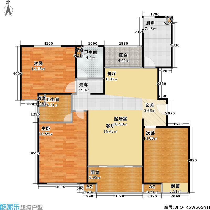 佳龙花园二期118.32㎡房型: 三房; 面积段: 118.32 -134.02 平方米; 户型