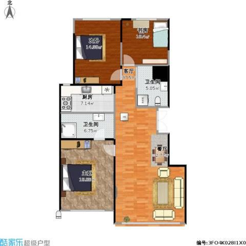 豪邦缇香公馆3室1厅2卫1厨136.00㎡户型图
