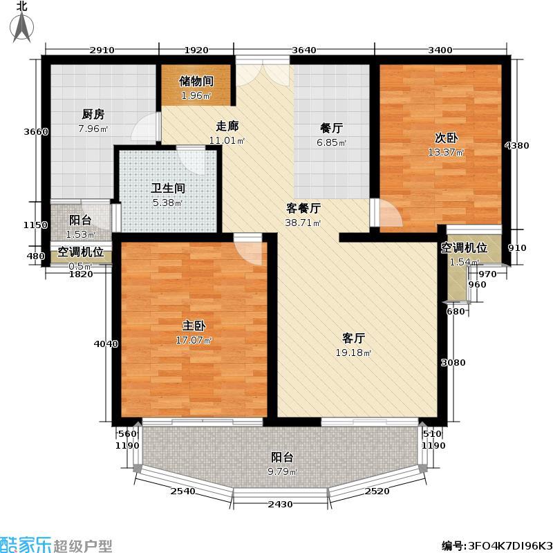 漕河景苑(月河)房型: 二房; 面积段: 97 -110 平方米;户型