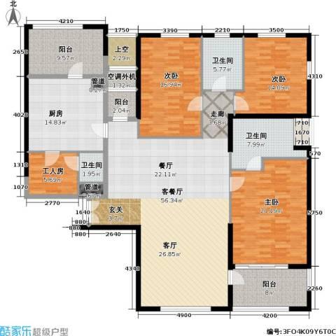 老西门新苑3室1厅3卫1厨190.00㎡户型图